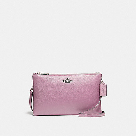 COACH f38273 LYLA CROSSBODY IN PEBBLE LEATHER SILVER/LILAC