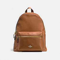 CHARLIE BACKPACK IN PEBBLE LEATHER - f38288 - IMITATION GOLD/SADDLE