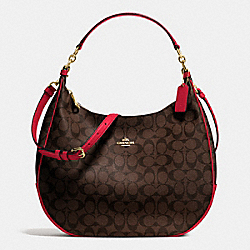 COACH F38300 Harley Hobo In Signature IMITATION GOLD/BROW TRUE RED