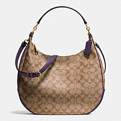 COACH F38300 Harley Hobo In Signature IMITATION GOLD/KHAKI AUBERGINE