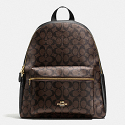 CHARLIE BACKPACK IN SIGNATURE - f38301 - IMITATION GOLD/BROWN/BLACK