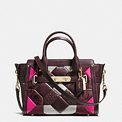 COACH F38365 - COACH SWAGGER CARRYALL 27 IN CANYON QUILT EXOTIC EMBOSSED LEATHER LIGHT GOLD/OXBLOOD MULTI