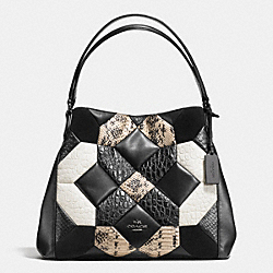 CANYON QUILT EDIE SHOULDER BAG 31 IN EXOTIC EMBOSSED LEATHER - f38369 - DARK GUNMETAL/BLACK/CHALK