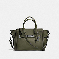 COACH SWAGGER 27 IN BURNISHED LEATHER - f38372 - DARK GUNMETAL/SURPLUS