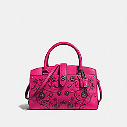 MERCER SATCHEL 24 WITH TEA ROSE - f38375 - CERISE/DARK GUNMETAL