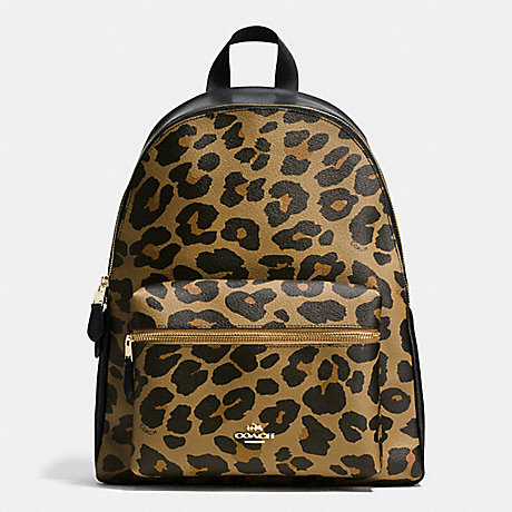 COACH F38391 CHARLIE BACKPACK IN LEOPARD PRINT COATED CANVAS IMITATION-GOLD/NATURAL