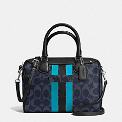 COACH F38401 - COACH VARSITY STRIPE MINI BENNETT SATCHEL IN SIGNATURE SILVER/DENIM/BLACK
