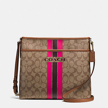 COACH f38402 COACH VARSITY STRIPE FILE BAG IN SIGNATURE IMITATION GOLD/KHAKI/PINK RUBY