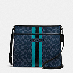 COACH VARSITY STRIPE FILE BAG IN SIGNATURE - f38402 - SILVER/DENIM/BLACK