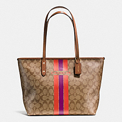 COACH F38405 - COACH VARSITY STRIPE CITY ZIP TOTE IN SIGNATURE IMITATION GOLD/KHAKI/WATERMELON