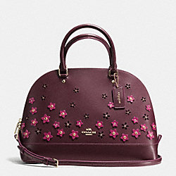 COACH F38410 Floral Applique Sierra Satchel In Crossgrain Leather IMITATION GOLD/OXBLOOD