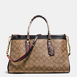MORGAN SATCHEL IN SIGNATURE WITH EXOTIC MIX TRIM - f38413 - IMITATION GOLD/KHAKI/BLACK