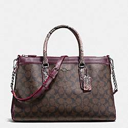 COACH F38413 Morgan Satchel In Signature With Exotic Mix Trim BLACK ANTIQUE NICKEL/OXBLOOD