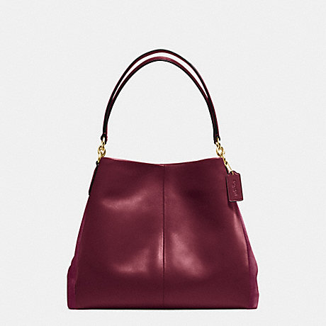 PHOEBE SHOULDER BAG IN SUEDE AND CROC EMBOSSED LEATHER - COACH F38415 - IMITATION GOLD/BURGUNDY