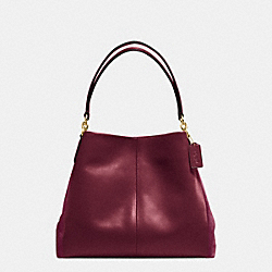 COACH F38415 Phoebe Shoulder Bag In Suede And Croc Embossed Leather IMITATION GOLD/BURGUNDY
