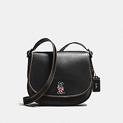 COACH F38421 Saddle 23 With Mickey BLACK/DARK GUNMETAL