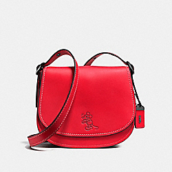 COACH F38421 Mickey Saddle 23 In Glovetanned Leather DARK GUNMETAL/1941 RED