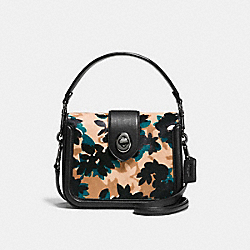 COACH PAGE CROSSBODY - SCATTERED LEAF/WALNUT MULTI/DARK GUNMETAL - F38447