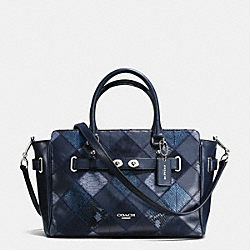 COACH F38501 - BLAKE CARRYALL IN PATCHWORK SUEDE AND EXOTIC EMBOSSED LEATHER SILVER/MIDNIGHT MULTI