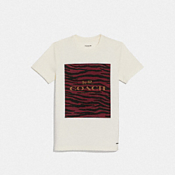COACH F38567 Coach Animal Print T-shirt WHITE/DARK RED