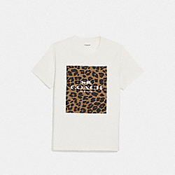 COACH F38567 - COACH ANIMAL PRINT T-SHIRT WHITE/NATURAL