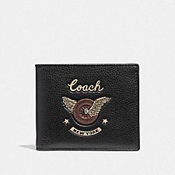COACH F38583 Double Billfold Wallet With Easy Rider Motif BLACK MULTI/BLACK ANTIQUE NICKEL