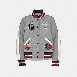 METALLIC PATCH WOOL VARSITY JACKET - F38591 - HEATHER GREY/PARCHMENT
