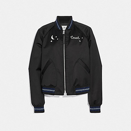 COACH F38600 CITY SKY CROPPED BASEBALL JACKET BLACK
