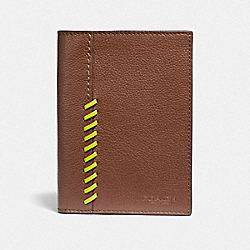 PASSPORT CASE WITH BASEBALL STITCH - F38609 - SADDLE MULTI/BLACK ANTIQUE NICKEL