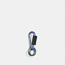 COACH F38613 Carabiner Key Ring BLACK MULTI/BLACK ANTIQUE NICKEL