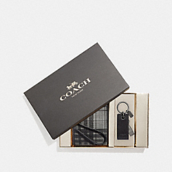 COACH F38624 - BOXED ID LANYARD AND USB KEYFOB SET WITH TWILL PLAID PRINT GREY MULTI/BLACK ANTIQUE NICKEL