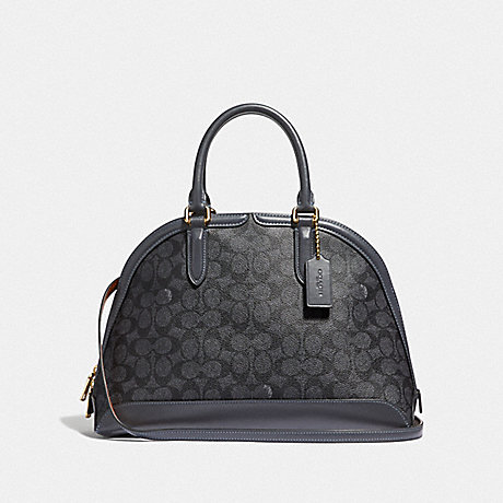 COACH F38626 QUINN SATCHEL IN SIGNATURE CANVAS CHARCOAL/MIDNIGHT NAVY/GOLD