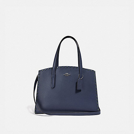 COACH F38629 CHARLIE CARRYALL WITH CRYSTAL RIVETS CADET/GUNMETAL