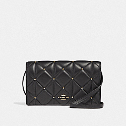 HAYDEN FOLDOVER CROSSBODY CLUTCH WITH STUDDED DIAMOND QUILTING - F38630 - BLACK/LIGHT GOLD