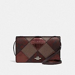 HAYDEN FOLDOVER CROSSBODY CLUTCH WITH PATCHWORK - F38632 - OXBLOOD MULTI/LIGHT GOLD
