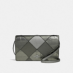 HAYDEN FOLDOVER CROSSBODY CLUTCH WITH PATCHWORK - F38632 - GUNMETAL MULTI/SILVER