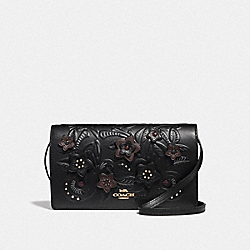 HAYDEN FOLDOVER CROSSBODY CLUTCH WITH FLORAL TOOLING - F38636 - BLACK/MULTI/LIGHT GOLD