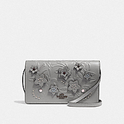 HAYDEN FOLDOVER CROSSBODY CLUTCH WITH FLORAL TOOLING - F38636 - HEATHER GREY MULTI/BLACK ANTIQUE NICKEL