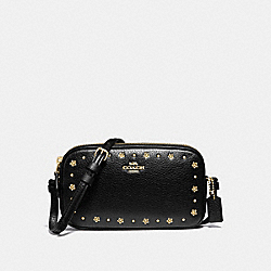 COACH F38637 - CROSSBODY POUCH WITH FLORAL RIVETS BLACK/LIGHT GOLD