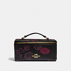 COACH F38638 Vanity Case With Halftone Floral Print BLACK/WINE/LIGHT GOLD
