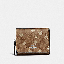 COACH F38642 Small Trifold Wallet In Signature Canvas With Pop Star Print KHAKI MULTI /SILVER