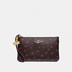 COACH F38647 Boxed Large Wristlet With Star Print And Charms BLACK/MULTI/LIGHT GOLD