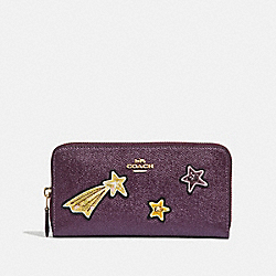 ACCORDION ZIP WALLET WITH STAR EMBELLISHMENTS - F38649 - METALLIC RASPBERRY/LIGHT GOLD