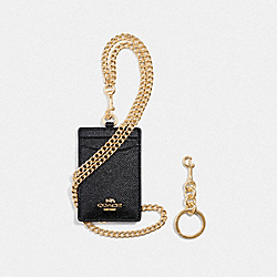 COACH F38650 Boxed Id Lanyard Set BLACK/LIGHT GOLD