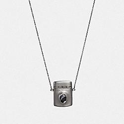 COACH F38656 Locket Necklace SV/BLACK