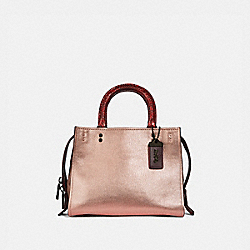 COACH F38657 - ROGUE 25 IN COLORBLOCK WITH SNAKESKIN DETAIL METALLIC ROSE GOLD/PEWTER