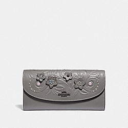COACH F38666 - SLIM ENVELOPE WALLET WITH FLORAL TOOLING HEATHER GREY MULTI/BLACK ANTIQUE NICKEL