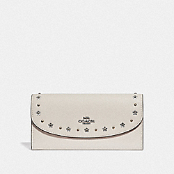 COACH F38675 Slim Envelope Wallet With Floral Rivets CHALK/SILVER