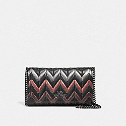 CROSSBODY WITH QUILTING - F38681 - BLACK MULTI/BLACK ANTIQUE NICKEL