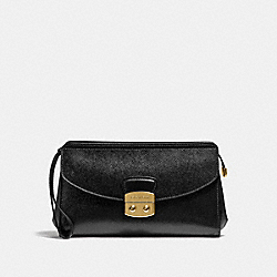 COACH F38682 Flap Clutch BLACK/LIGHT GOLD